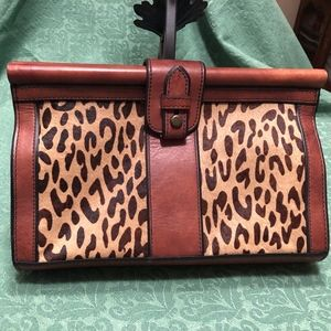 Fossil Leopard Print Hairhide and Leather Clutch